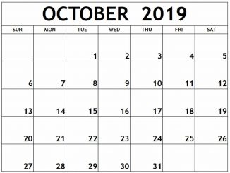 2019 October Calendar With Holidays PDF