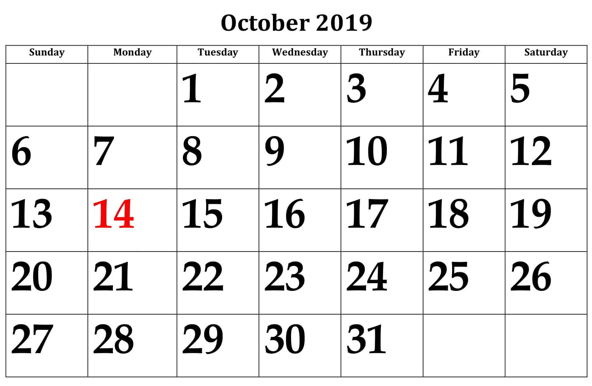 2019 October Monthly Calendar