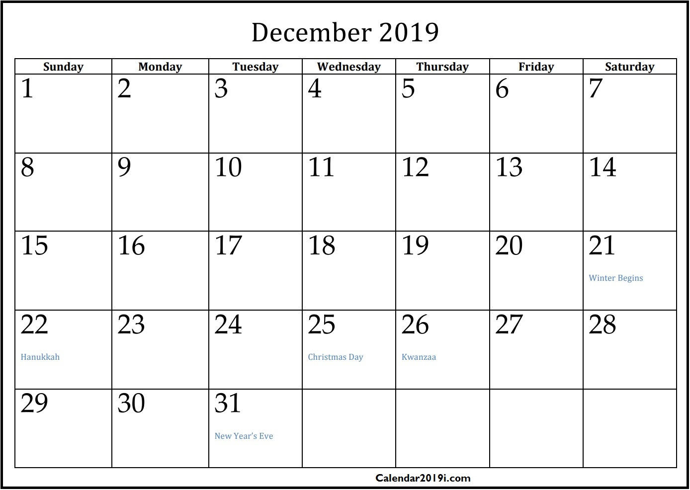 Blank Calendar December 2019 with Holidays