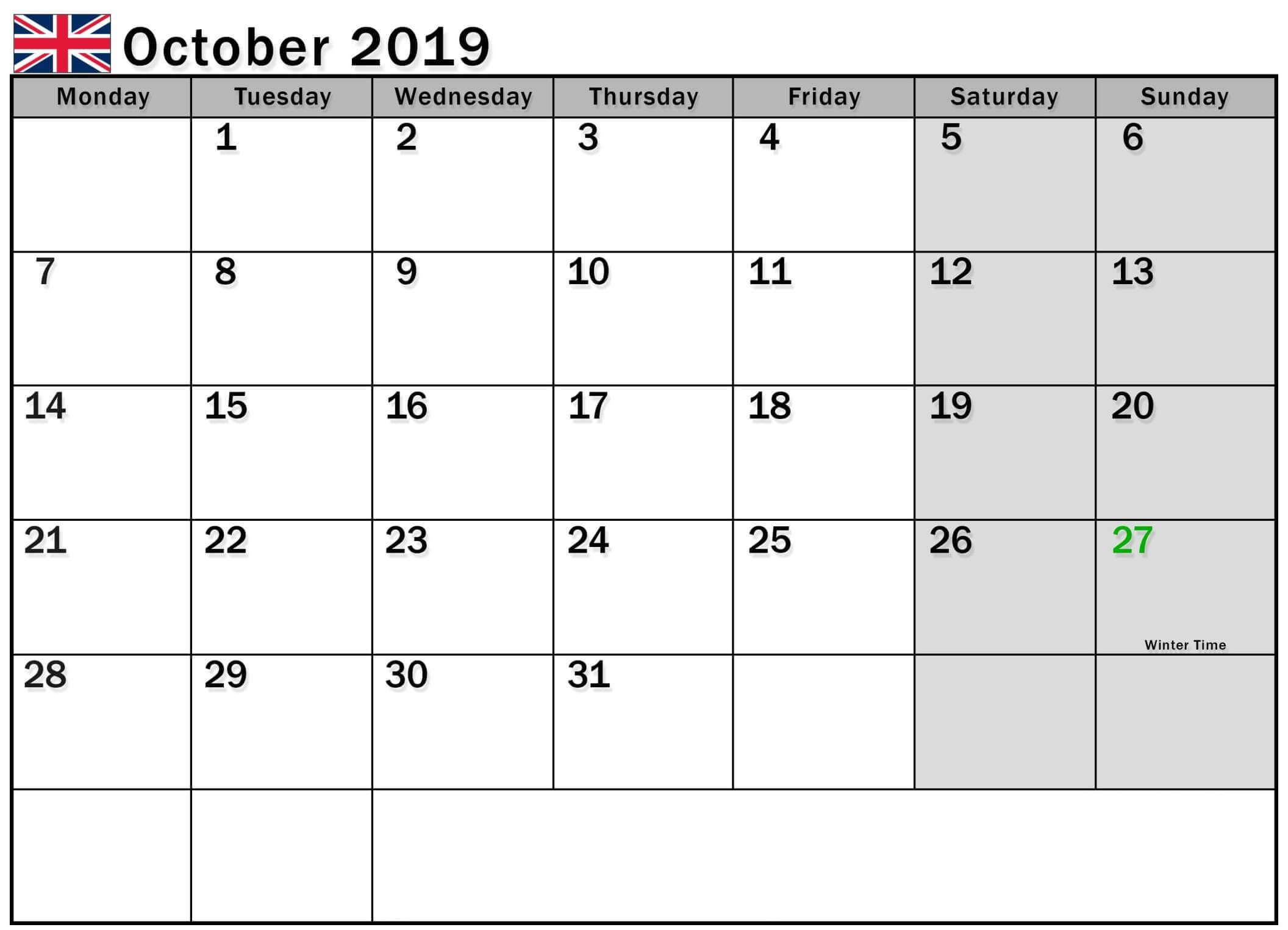 Calendar October 2019 UK with Flag