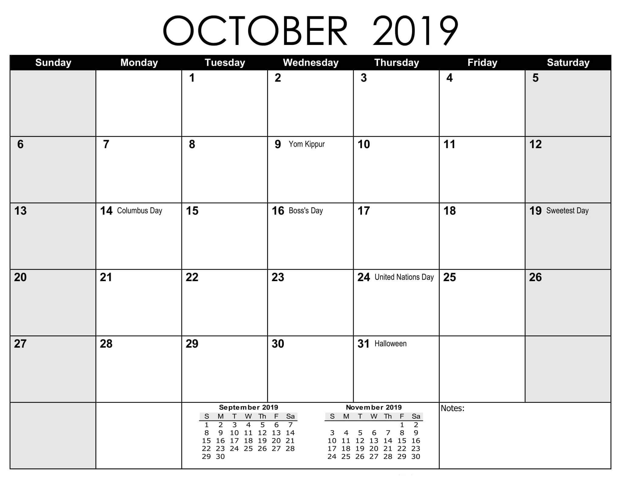 Calendar October 2019 with Holidays