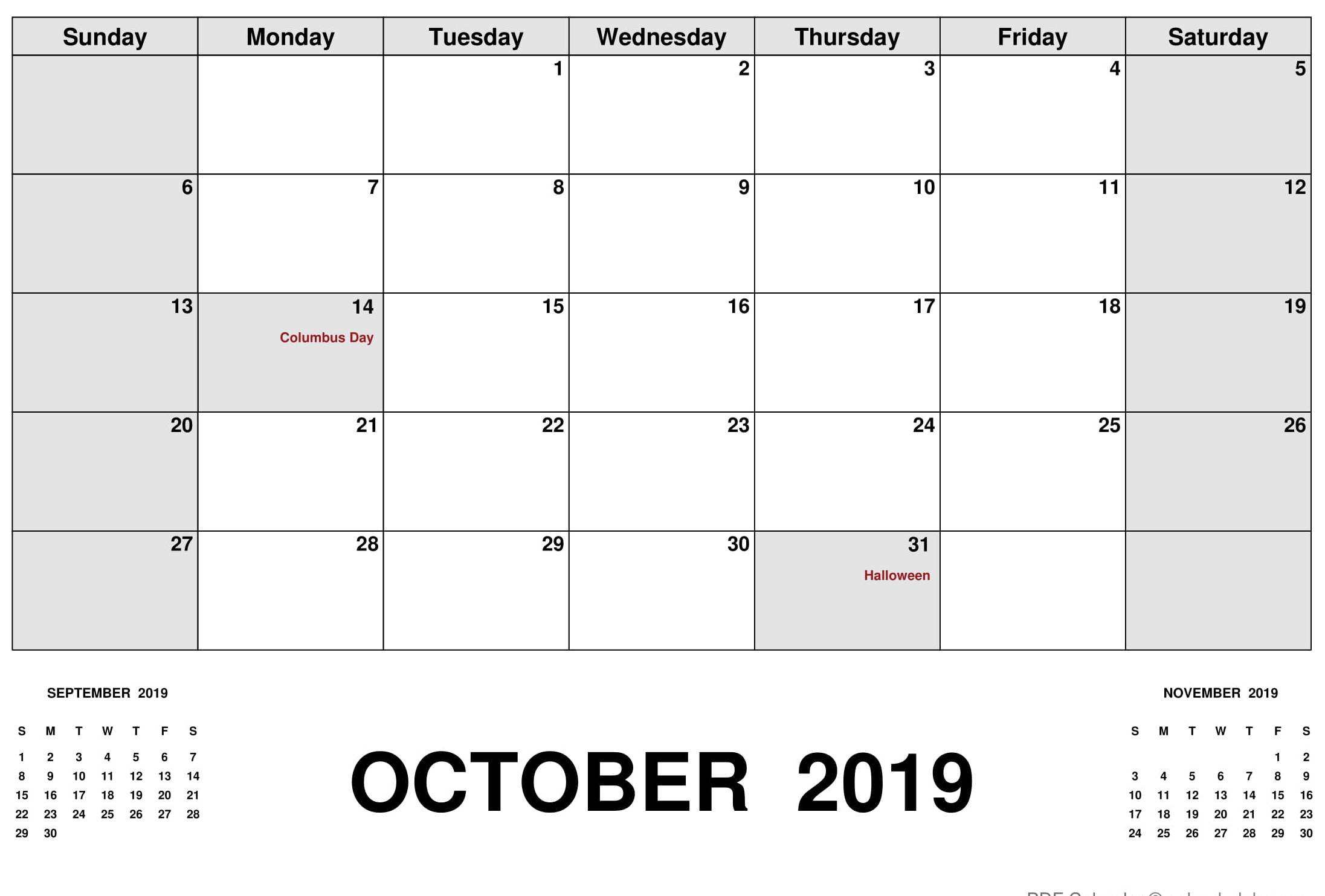Calendar October 2019 with Holidays US