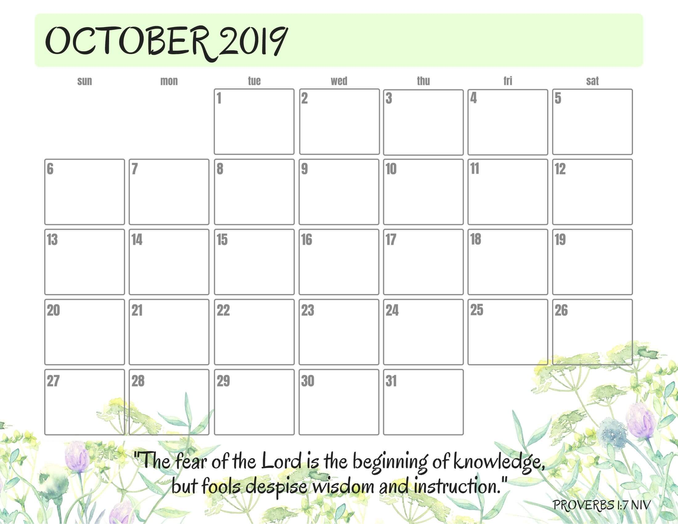 picture relating to Free Printable Calendar Oct titled Free of charge Calendar Oct 2019 Printable Phrase