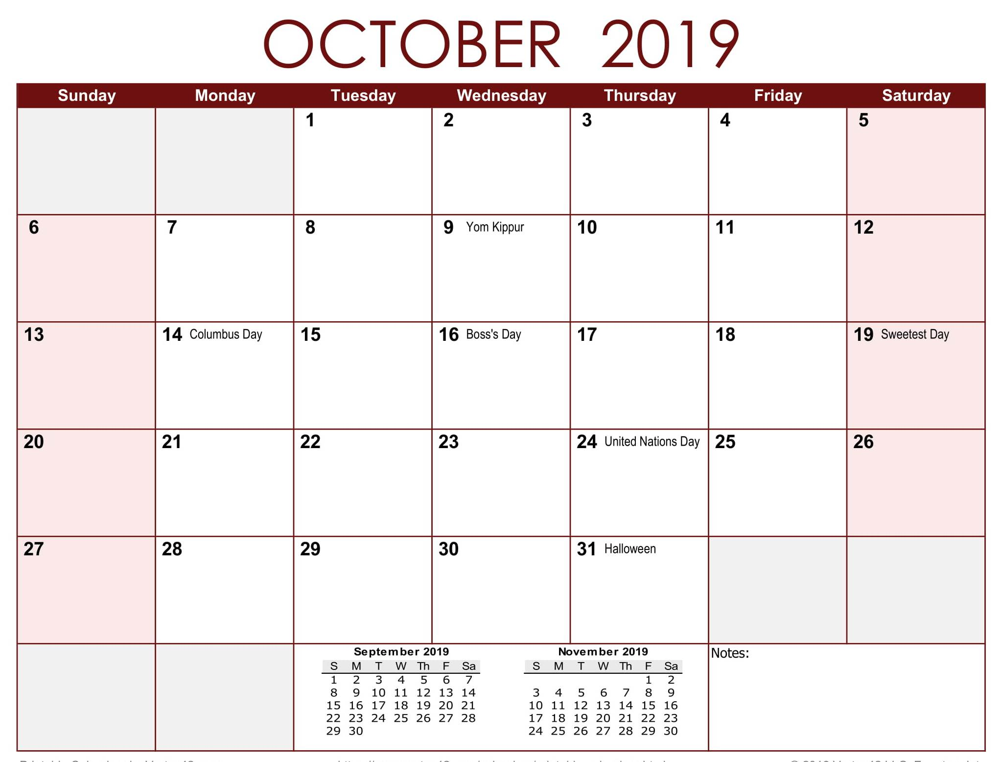 Calendar for October 2019 Holidays