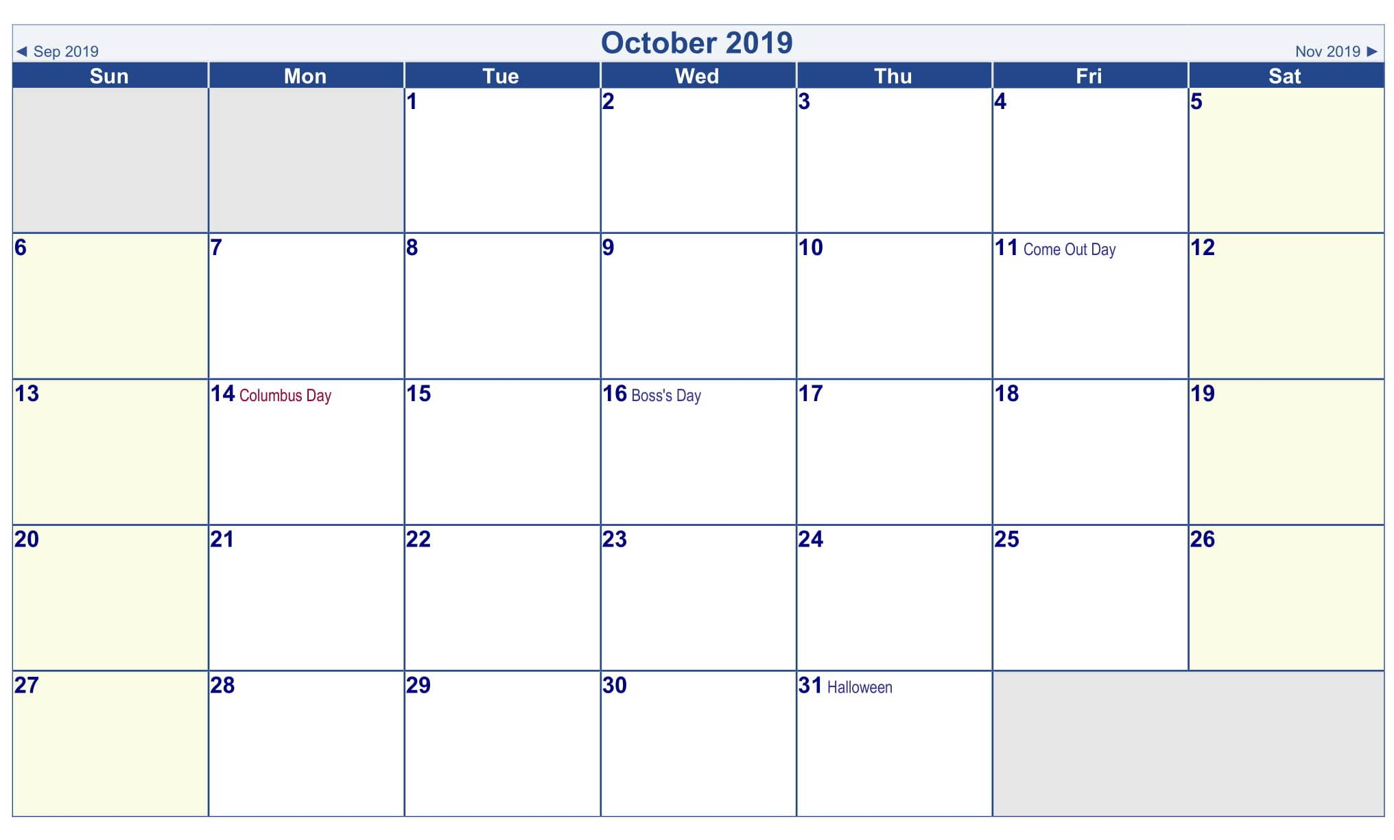 Canada Holidays 2019 October Calendar