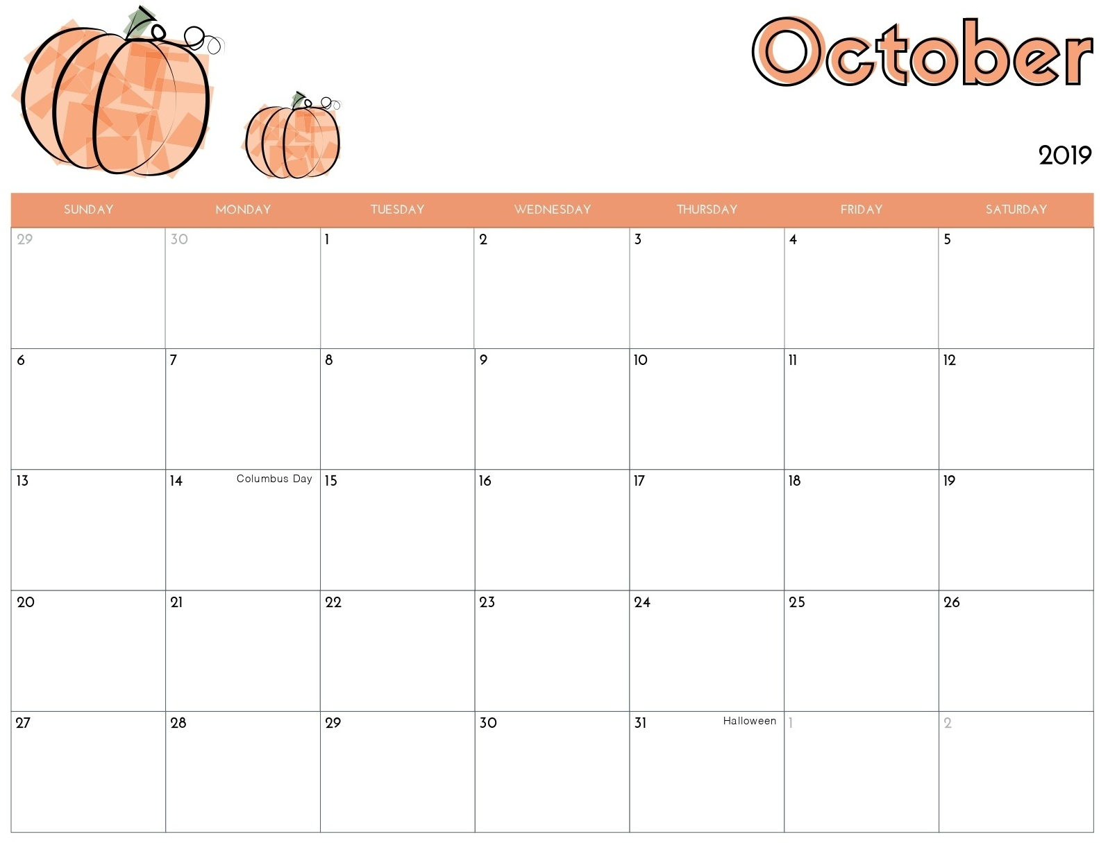 Cute Calendar for October 2019