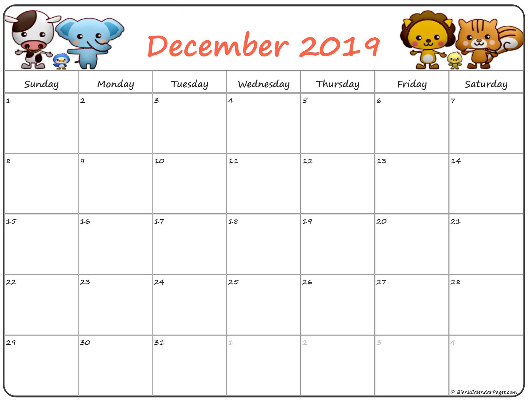 Cute December 2019 Calendar For Kids