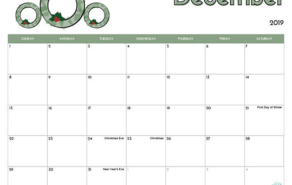 picture regarding December Calendar Printable With Holidays titled December 2019 Printable Calendar with Editable Notes