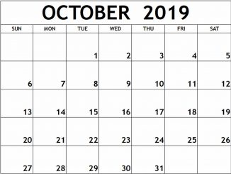 Editable October 2019 Calendar Word