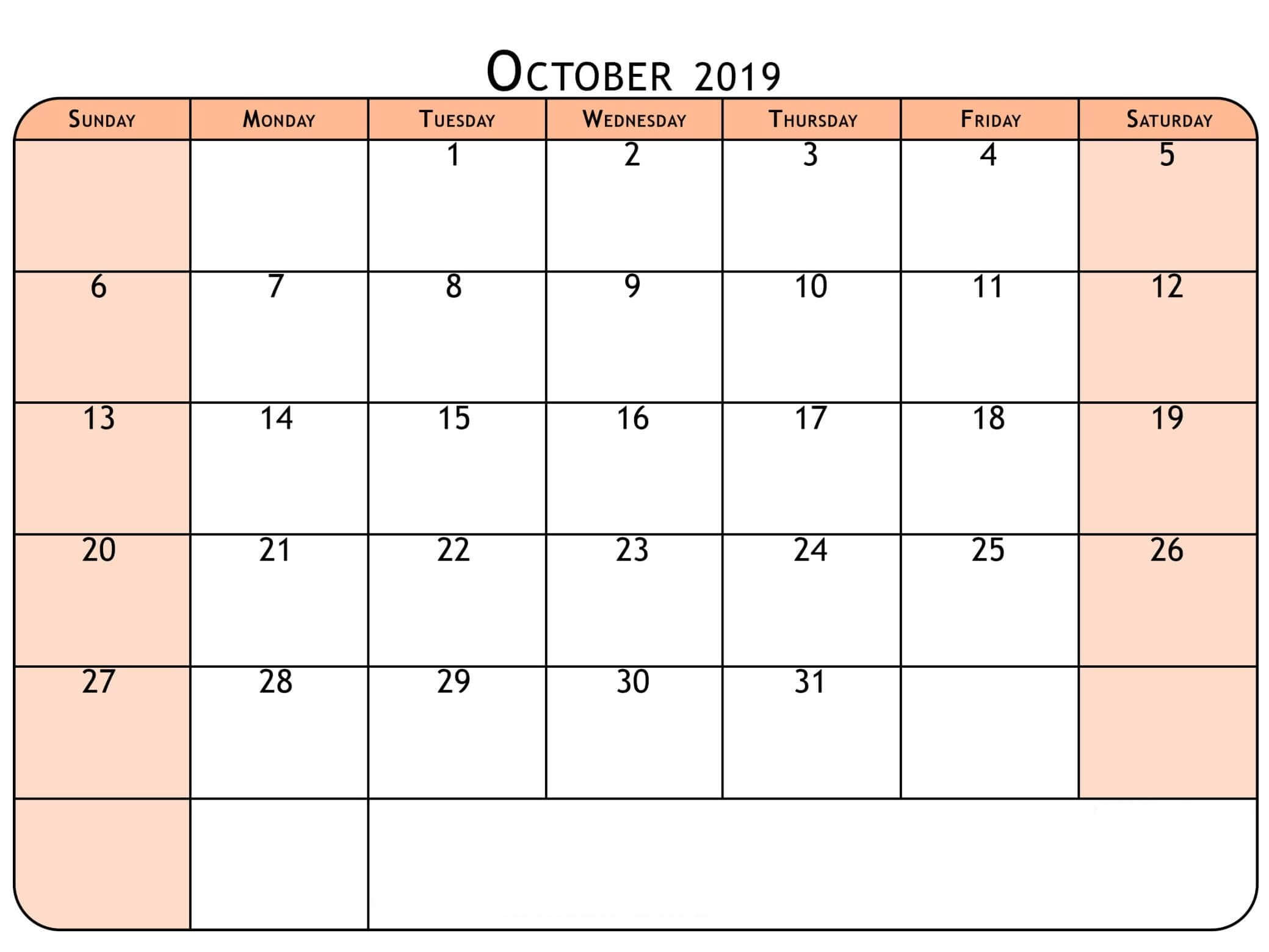 Free Printable Calendar for October 2019