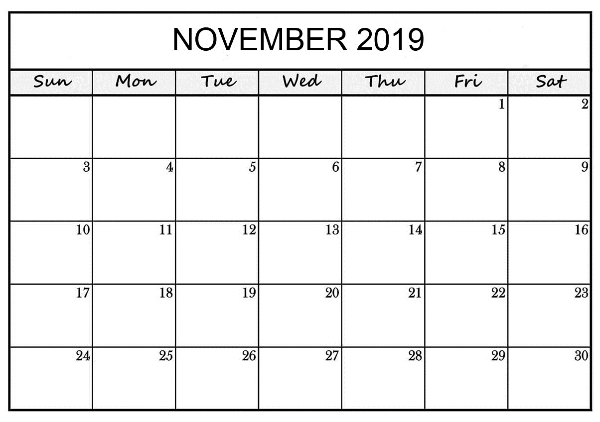 Free Printable November 2019 Calendar Worksheets