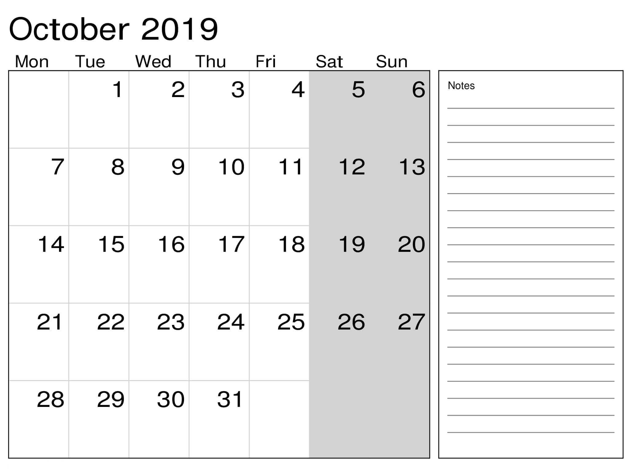 Free Printable October 2019 Calendar With Notes