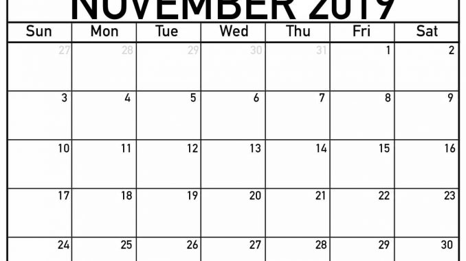 picture relating to Printable November Calendar Pdf referred to as Blank November Calendar 2019 Printable PDF