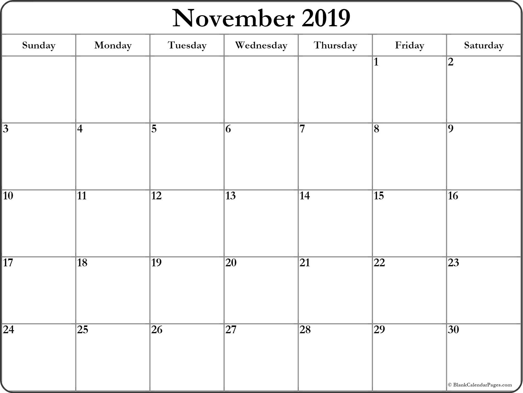 Monthly November 2019 Printable Calendar