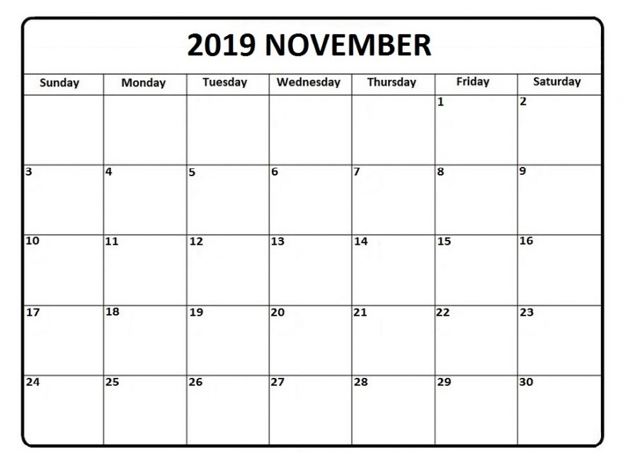November 2019 Calendar Monthly Template