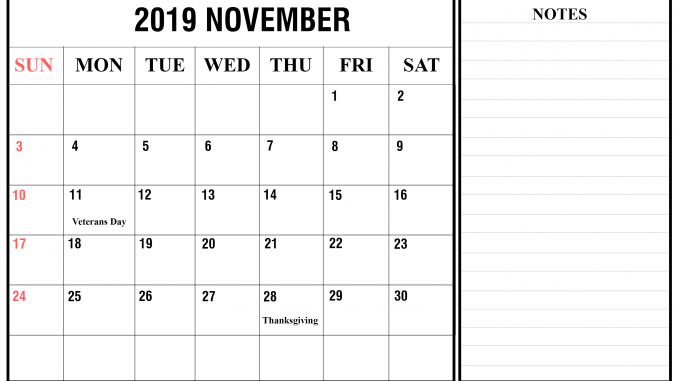 graphic regarding Nov Calendar Printable Pdf titled November 2019 Calendar Printable Template in just PDF, Phrase, Excel