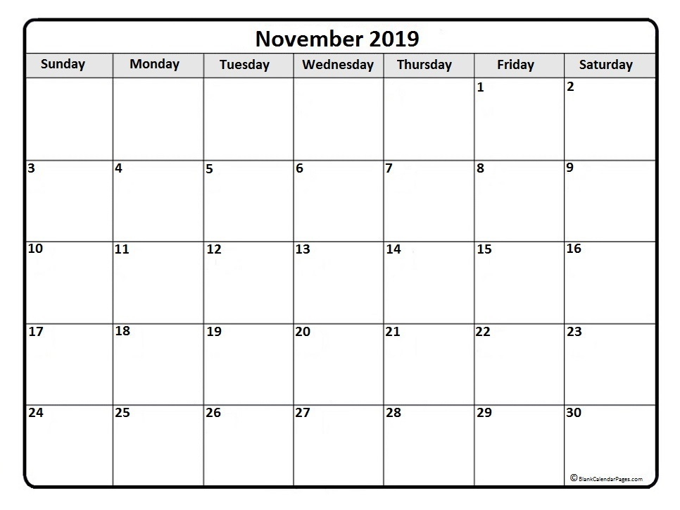 November 2019 Monthly Blank Template