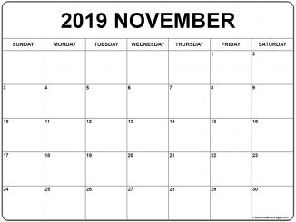 November 2019 Printable Calendar with Notes