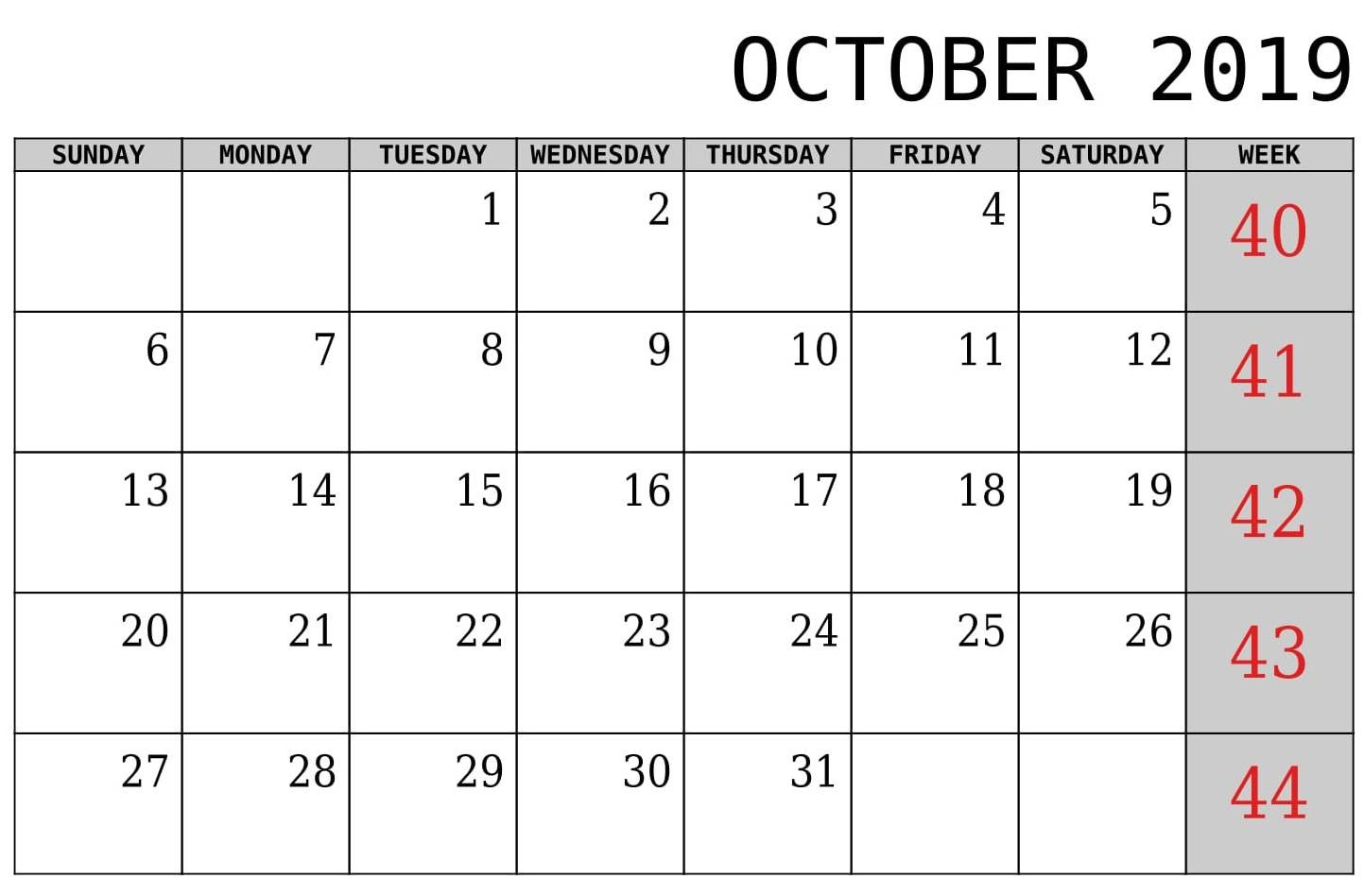 October 2019 Calendar Canada Bank Holidays