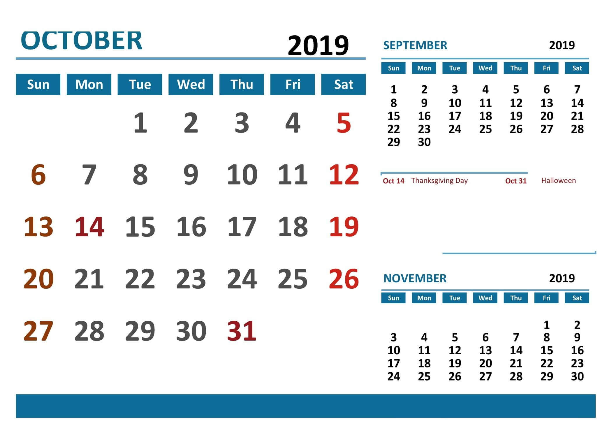 October 2019 Calendar Canada Public Holidays