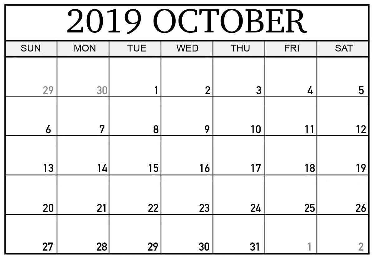 October 2019 Calendar Canada School Holidays