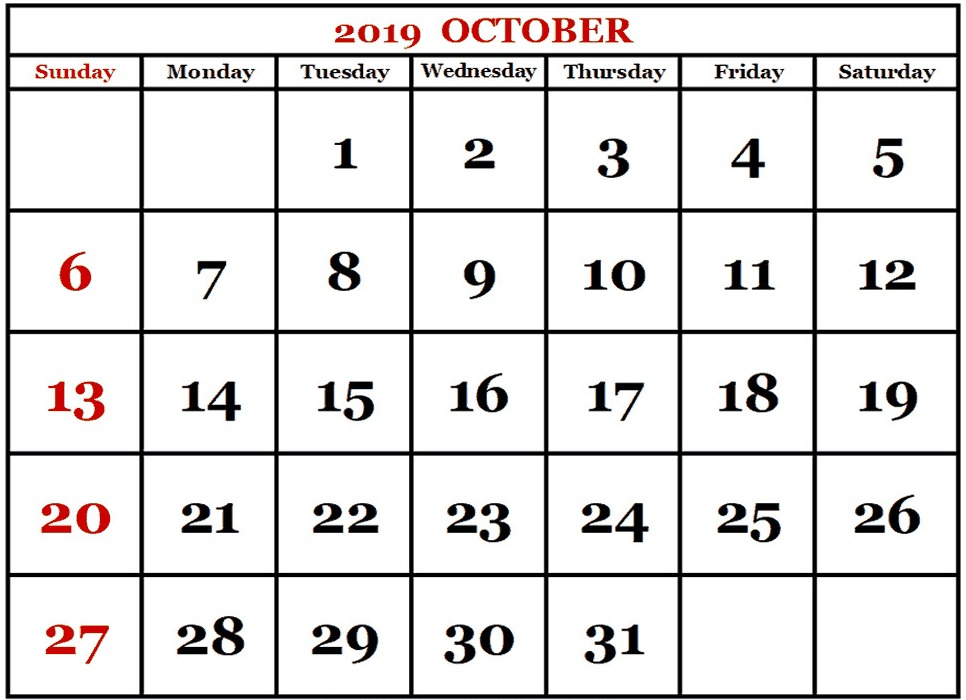 October 2019 Calendar In Printable Word Template