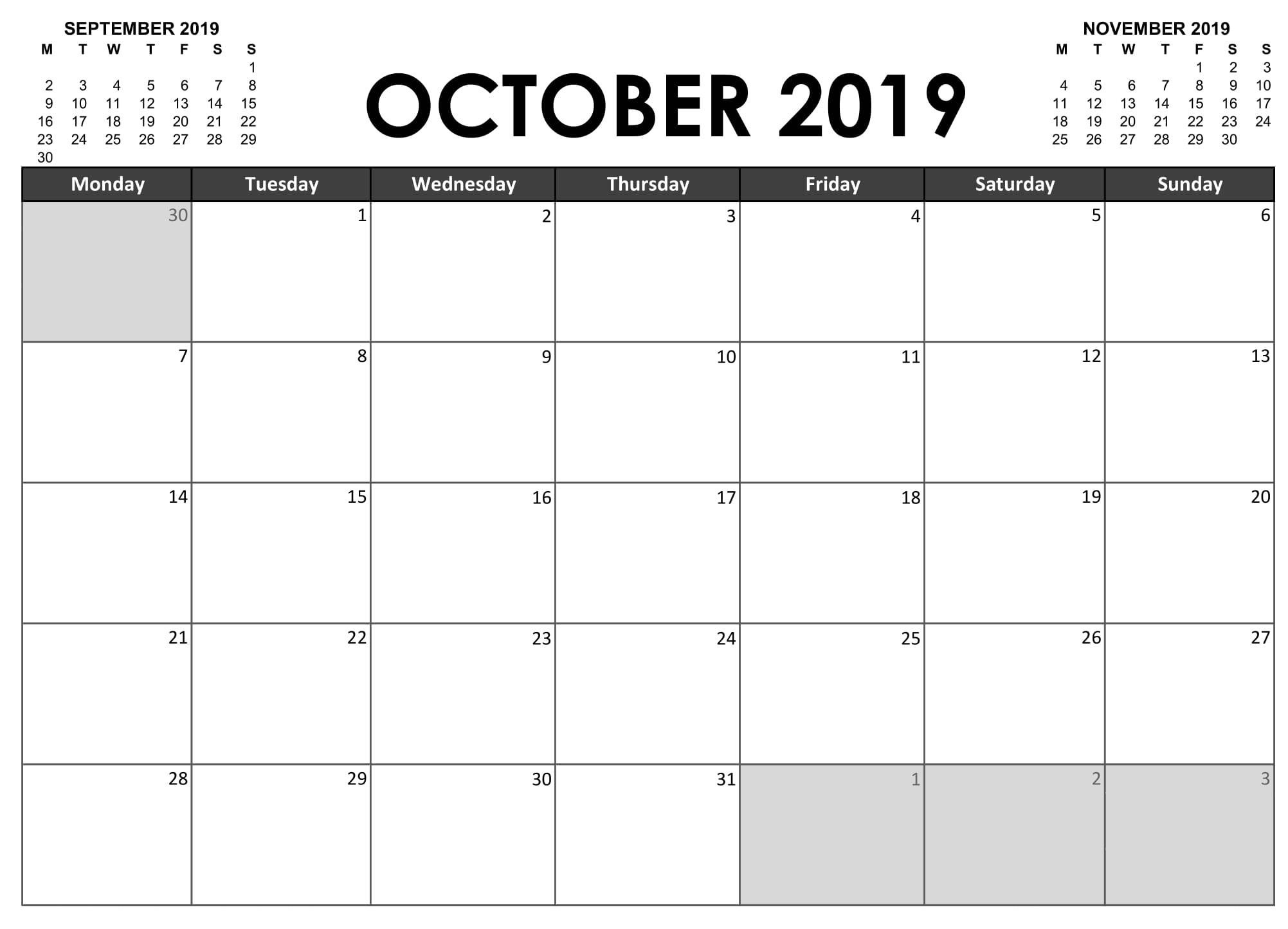 October 2019 Calendar NZ National Holidays