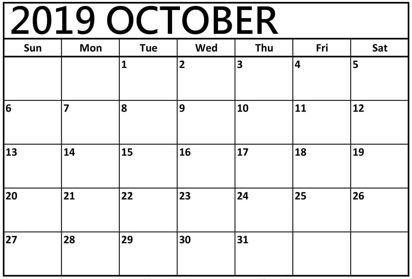 October 2019 Calendar Printable Word