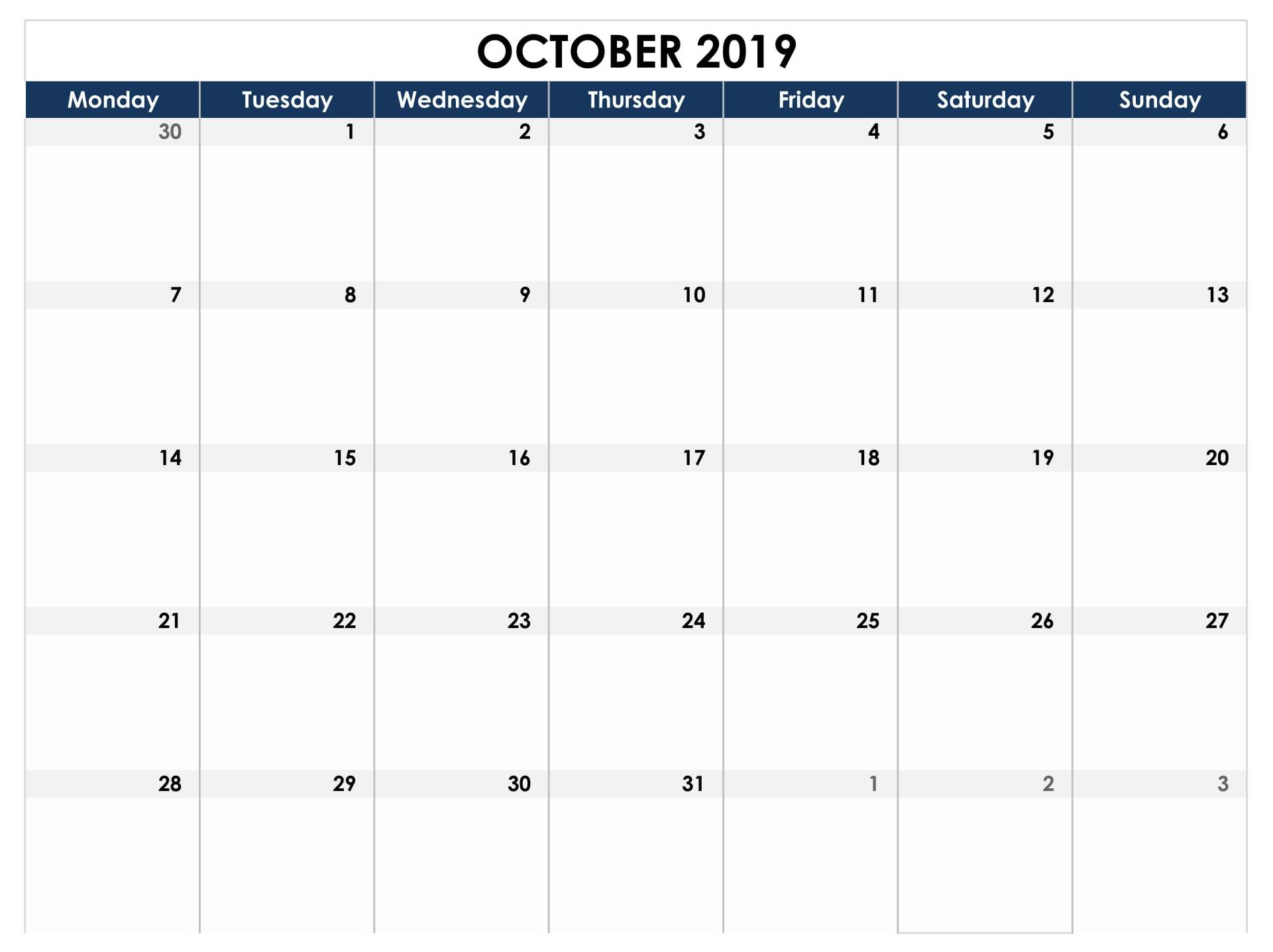 October 2019 Calendar UK Bank Holidays