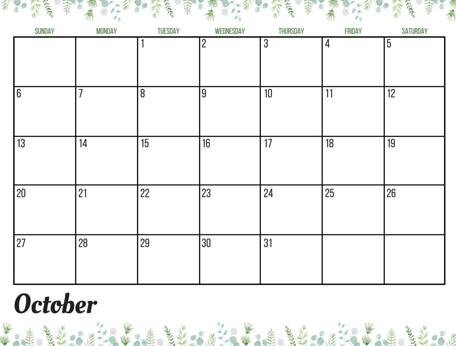 October 2019 Calendar UK National Holidays