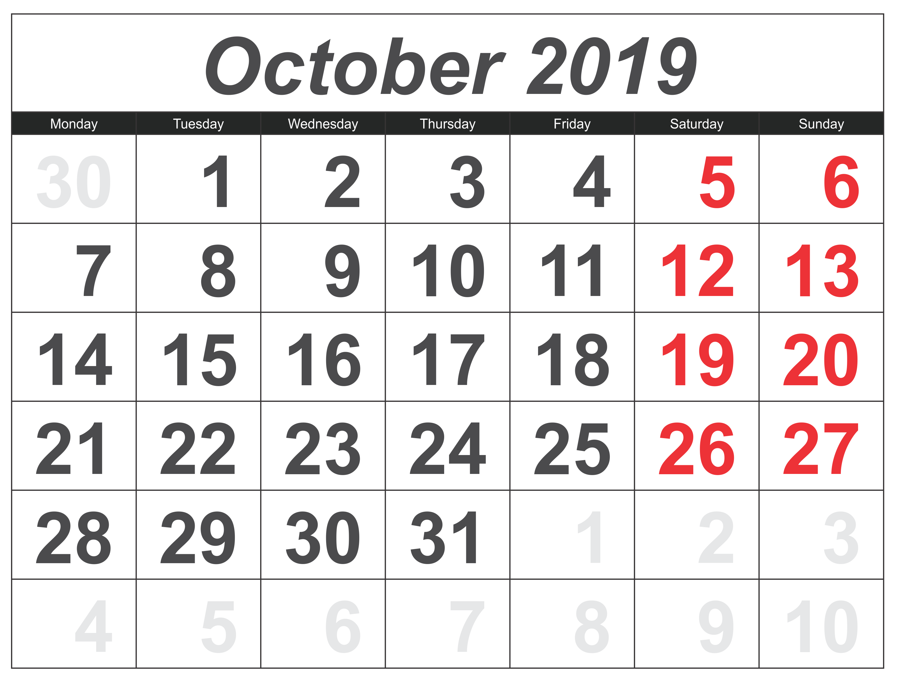 October 2019 Calendar UK Public Holidays