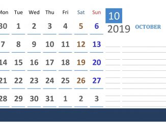 October 2019 Calendar UK School Holidays
