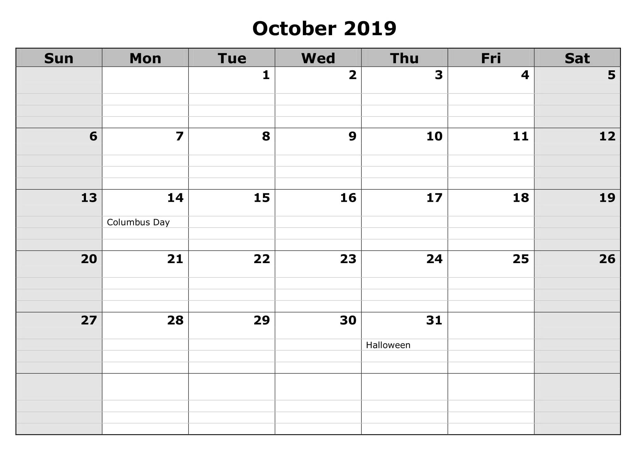 October 2019 Calendar USA Federal Holidays