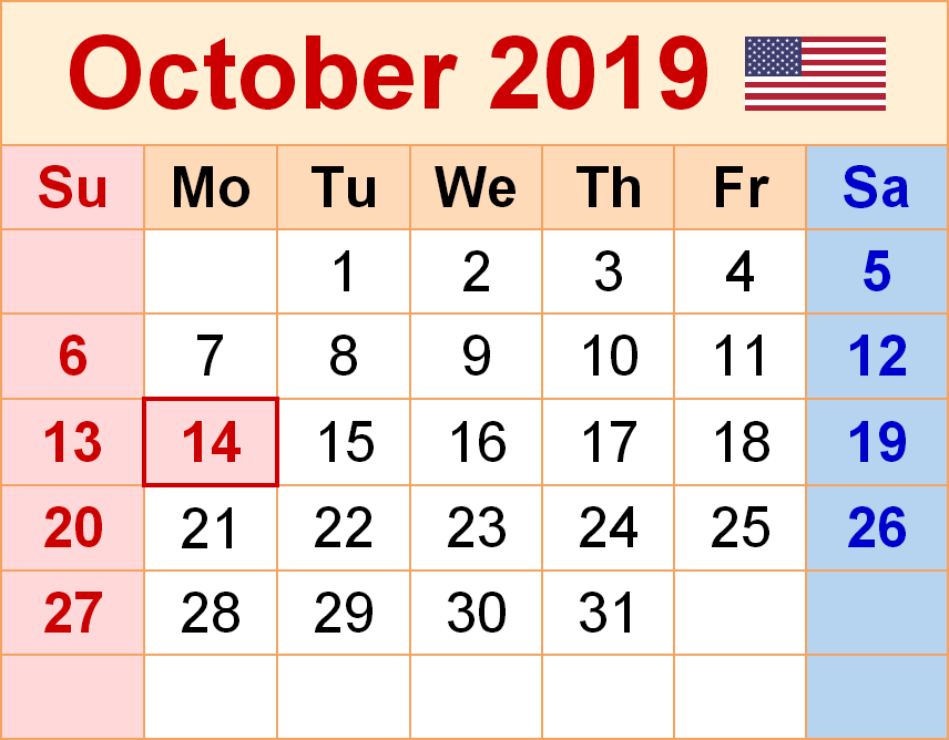 October 2019 Calendar USA Flag