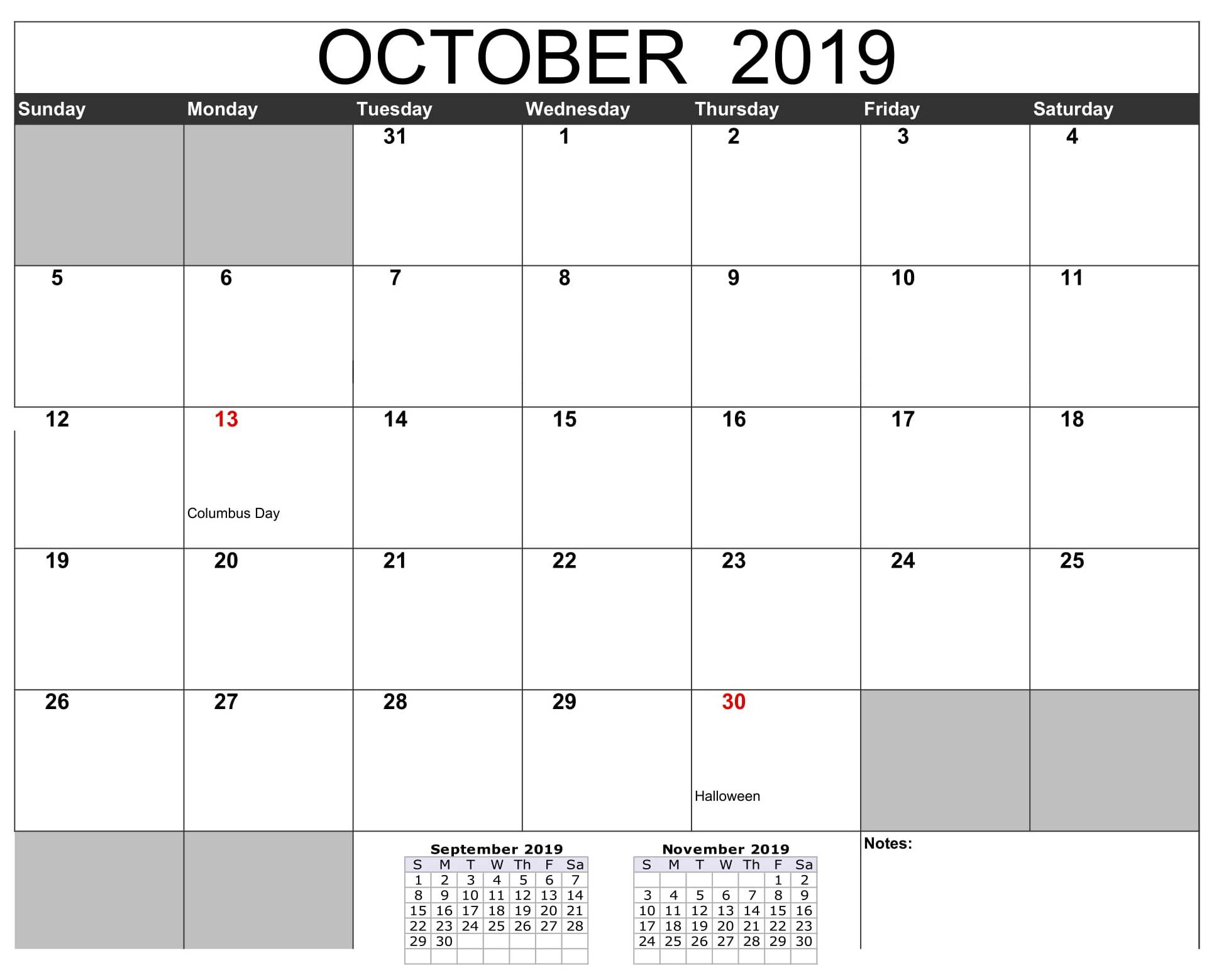 October 2019 Calendar USA Public Holidays