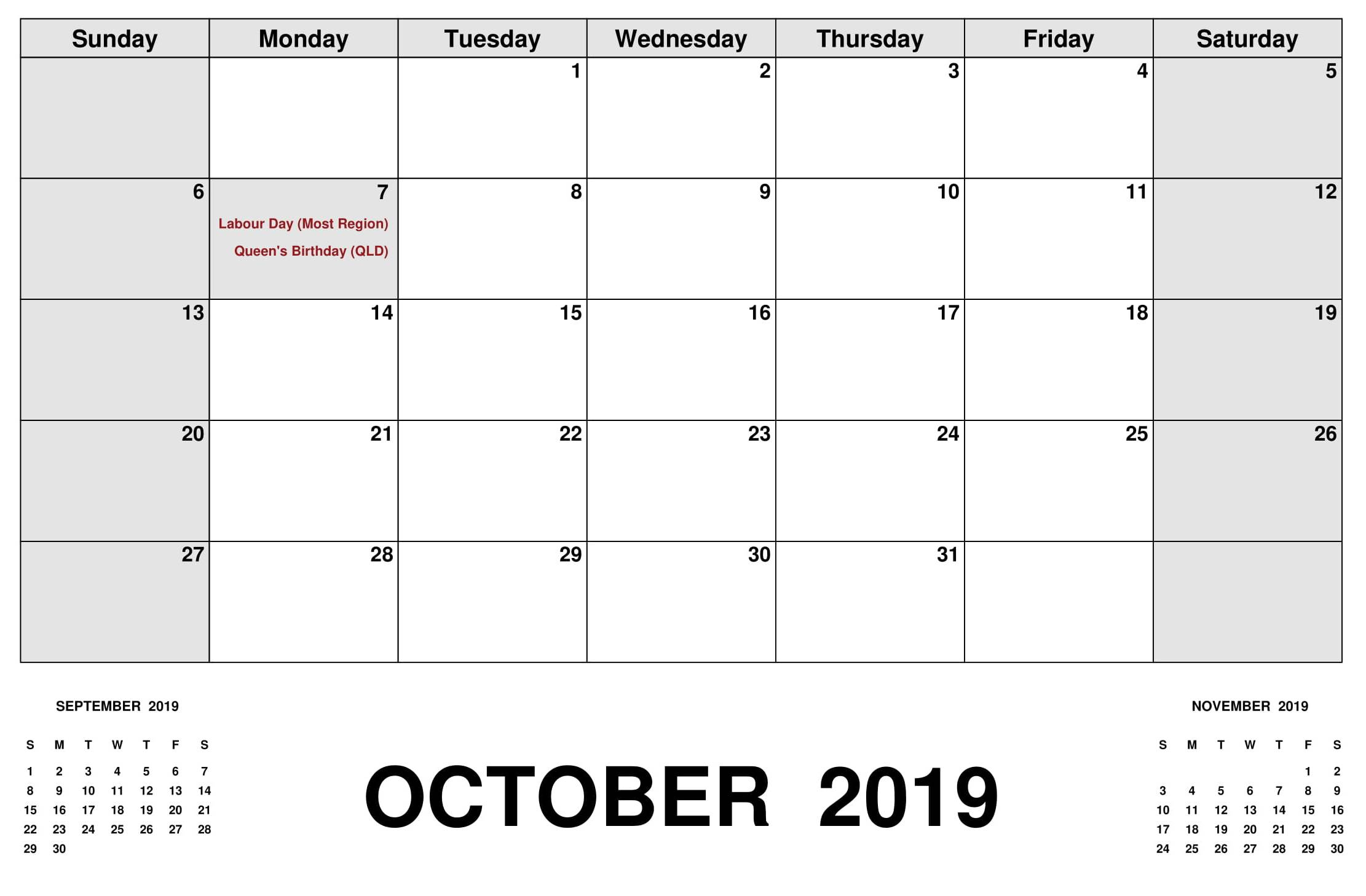 October 2019 Calendar With Holidays Australia