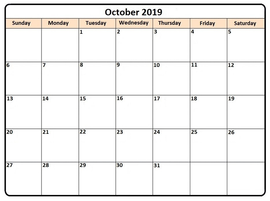 October 2019 Calendar Word Doc
