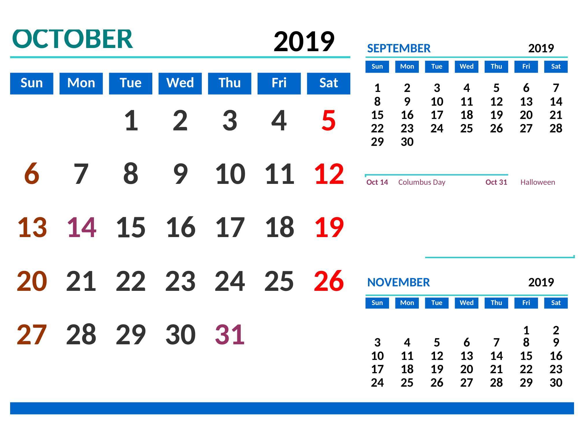 October 2019 Calendar with Holidays List