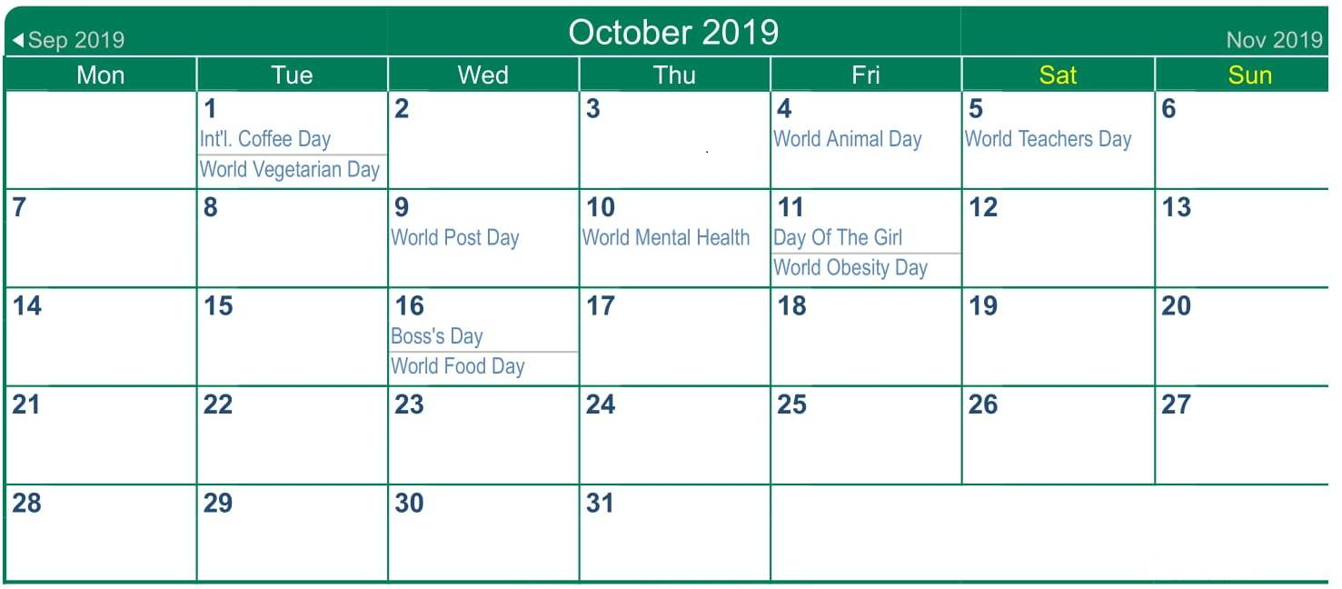 October 2019 Calendar with Holidays South Africa