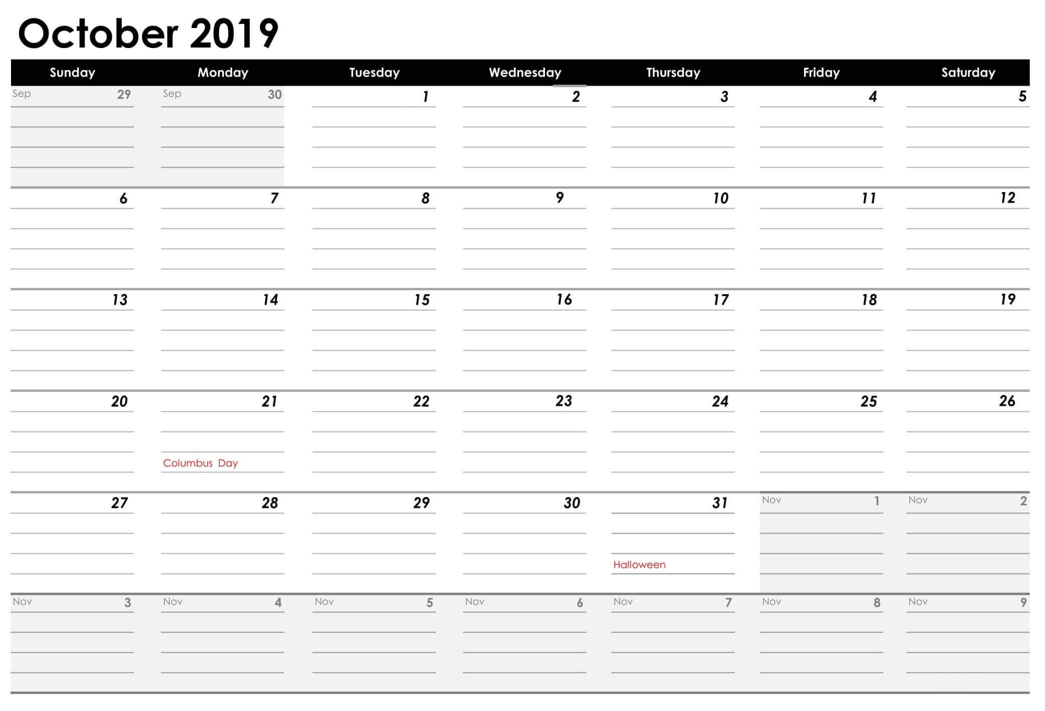 October 2019 US Calendar With Holidays