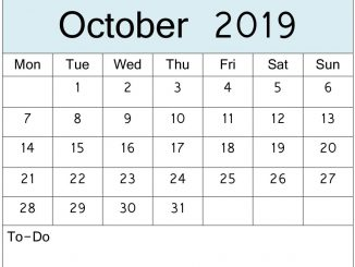 October Calendar 2019 PDF, Word, Excel