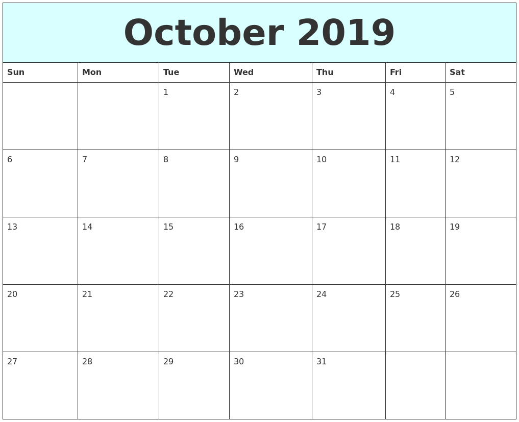 Online Calendar for October 2019