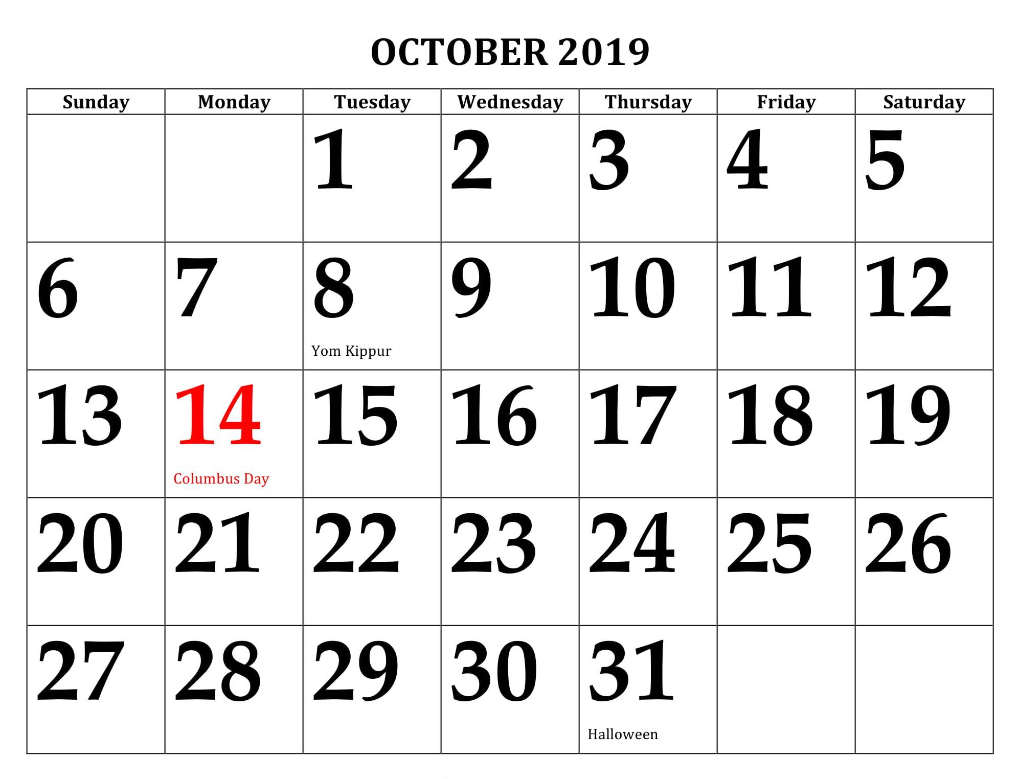 USA Holidays 2019 October Calendar
