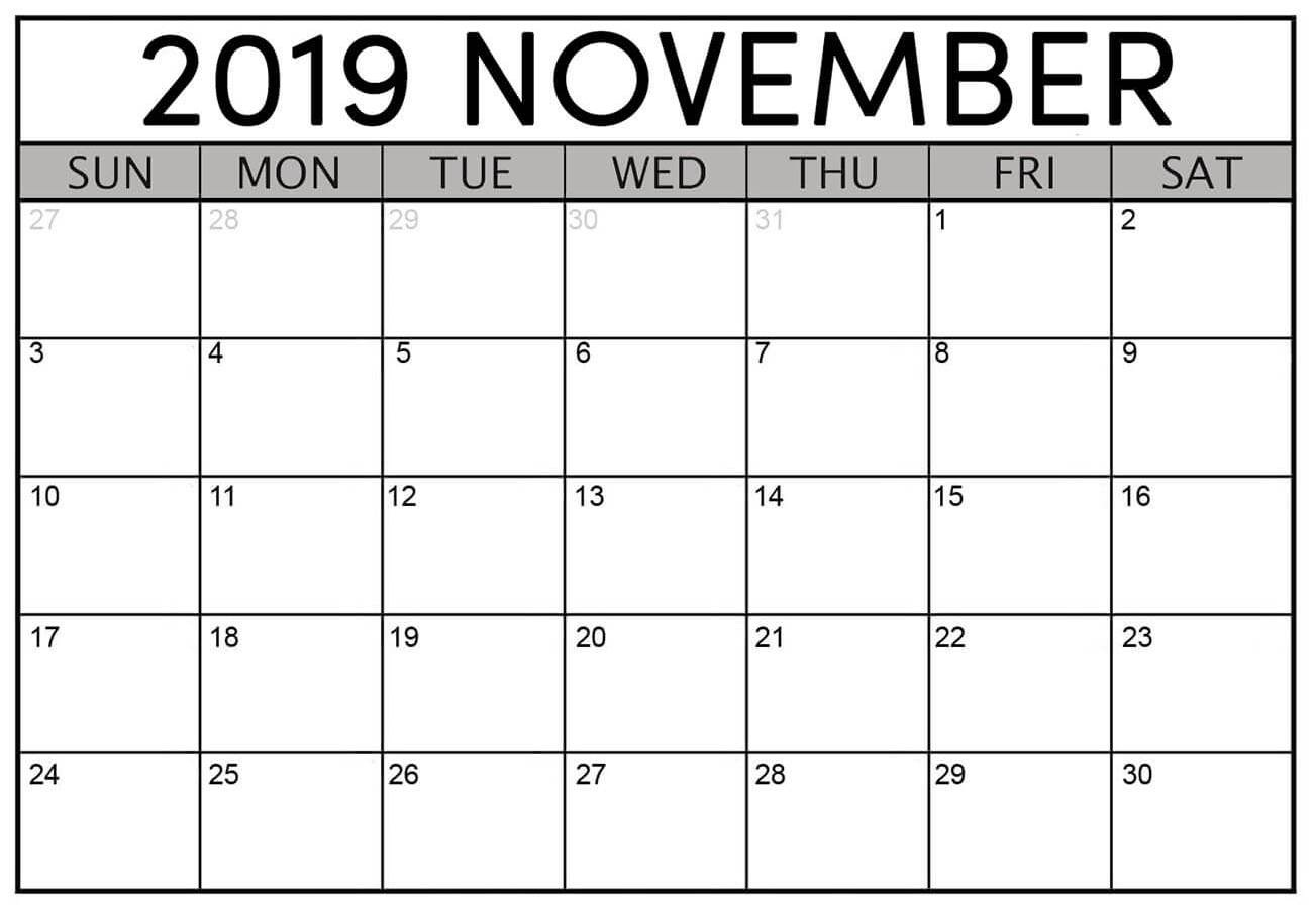 Calendar For November 2019 Printable Template
