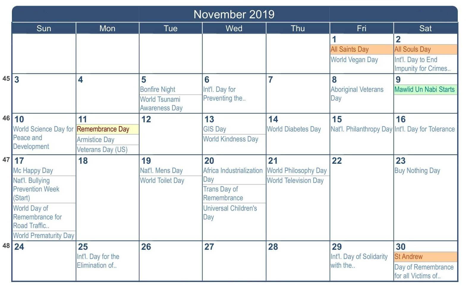 November 2019 Calendar Canada School Holidays