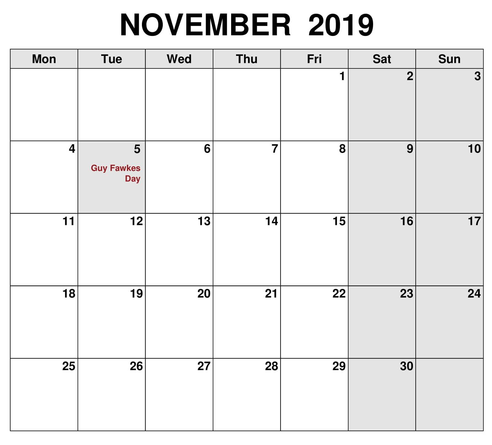 November 2019 Calendar UK Public Holidays