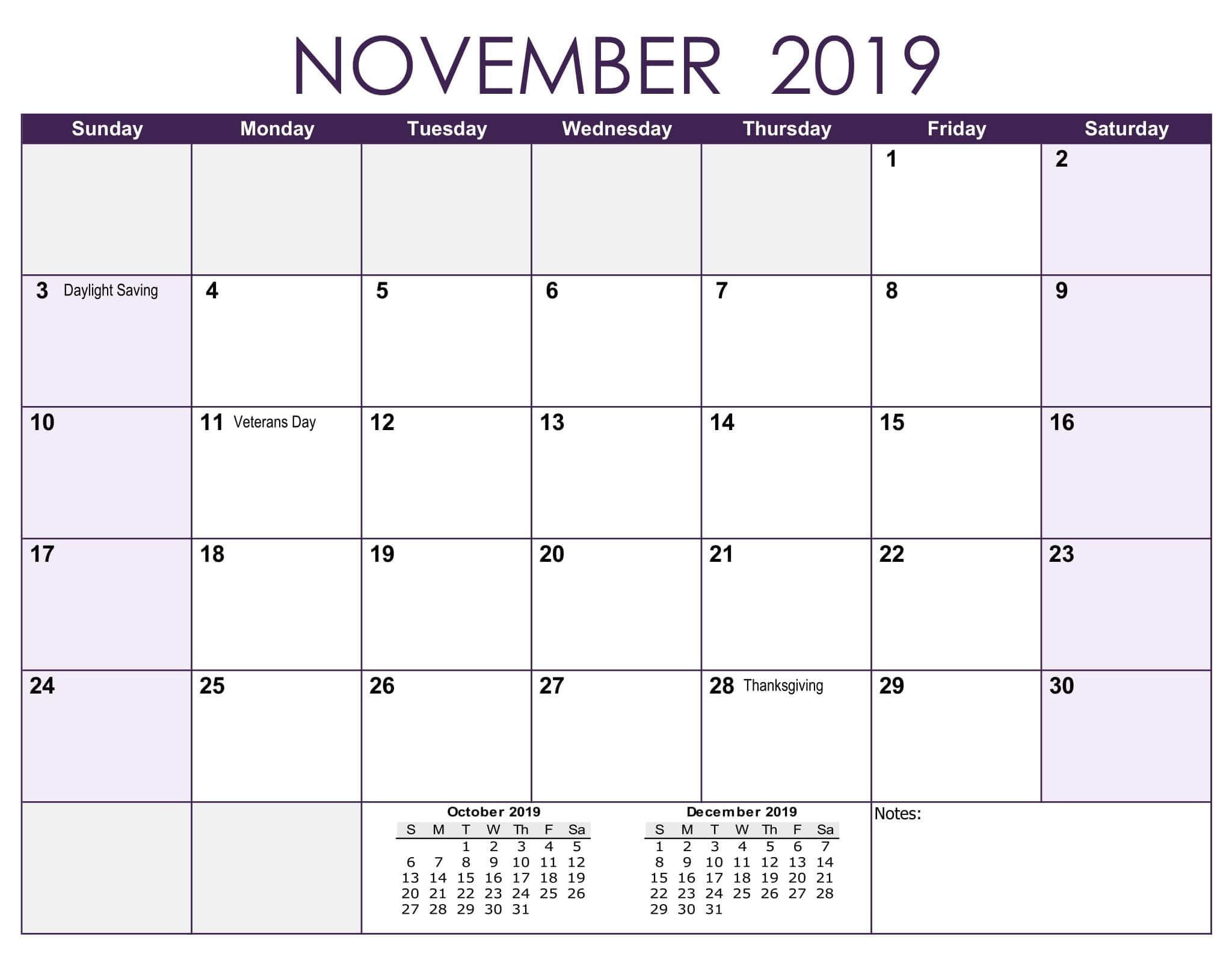 November 2019 Calendar With Holidays Word