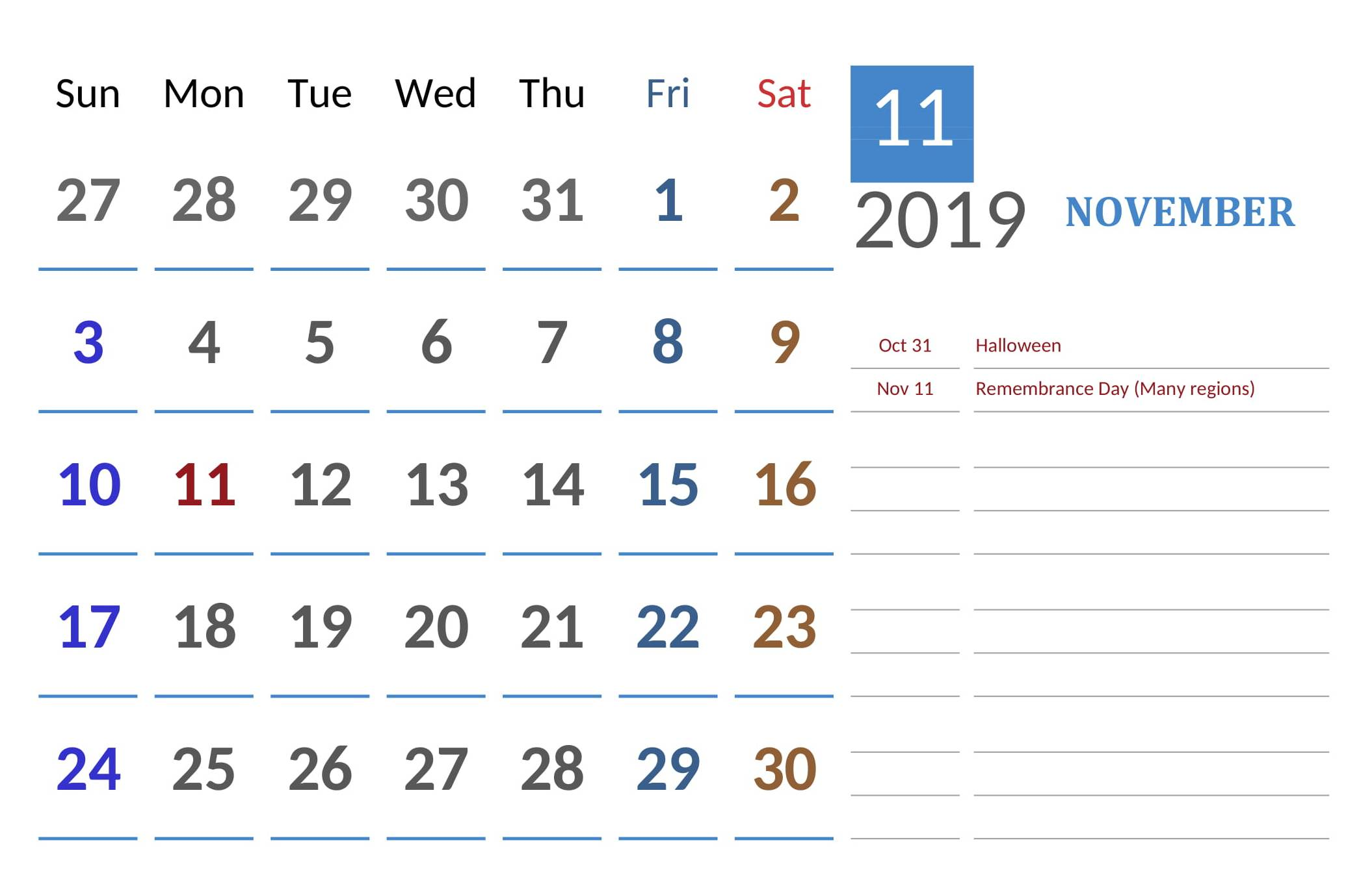 November 2019 Canada Calendar With Holidays