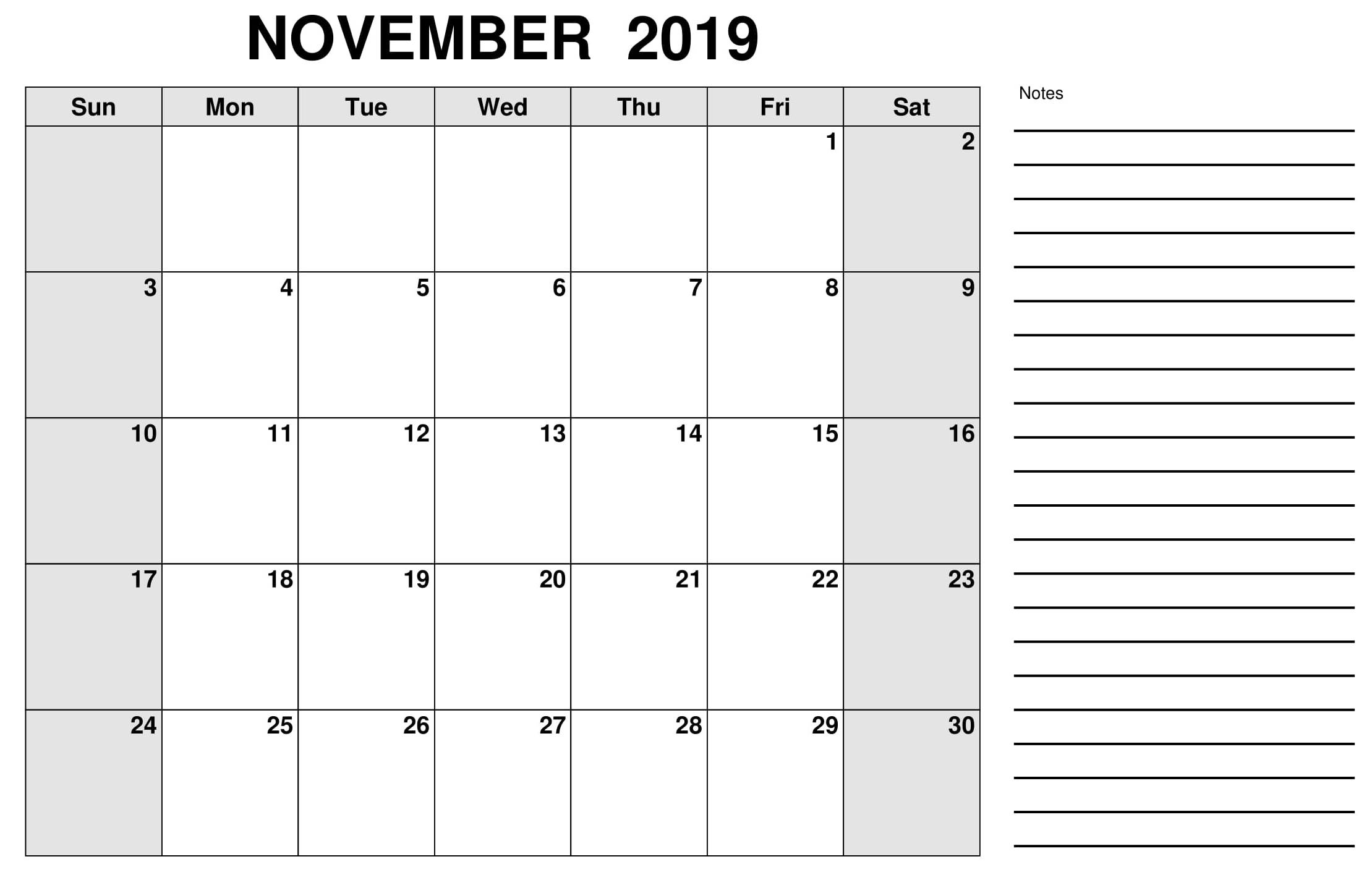 November Calendar For 2019 With Notes