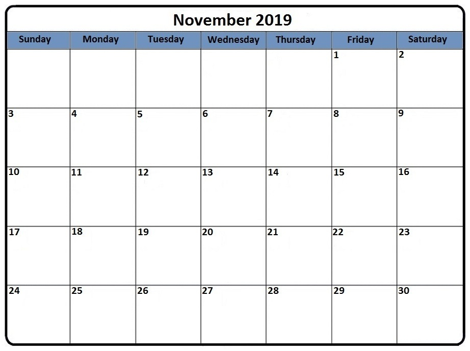 November Printable Calendar Template For 2019